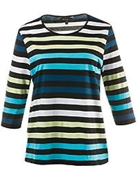 c0ae026f193e5a Ulla Popken Damen große Größen bis 66+ | Shirt | ¾-Arm, Rundhals, Streifen  | Reine Baumwolle | schwarz, türkis,…