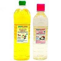 FITLITE Combo Groundnut Wood Chekku Oil 1 LTR + Coconut Wood Chekku Oil 0.5 LTR