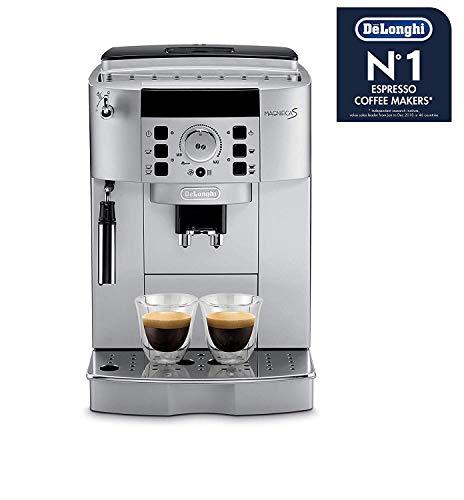 De'Longhi Magnifica ECAM 22.110.SB - Kaffeevollautomat mit Milchaufschäumdüse, Digitaldisplay mit Klartext, 2-Tassen-Funktion, großr 1,8 l Wassertank, 35,4 x 23,8 x 43 cm, silber