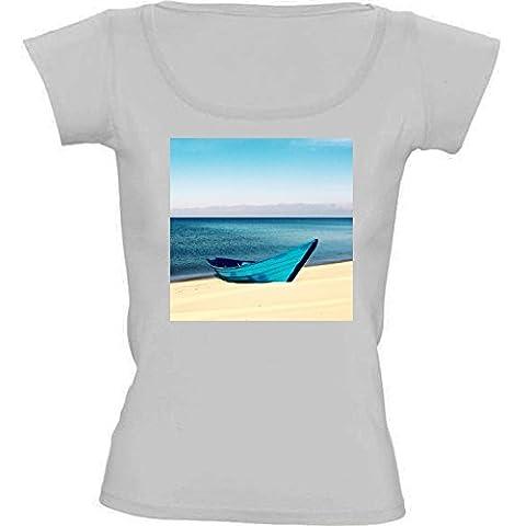 Camiseta Cuello Redondo para Mujer - Arena Azul Barco by Petra