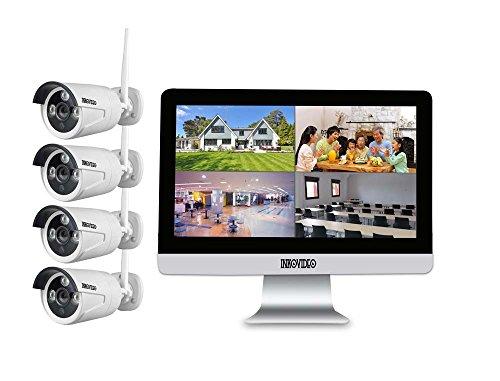 """Videoüberwachung WLAN Komplettset 4-Kanal Netzwerkrekorder mit 25,4 cm (10\"""" Zoll) LCD-Bildschirm und 4 x HD Überwachungskameras"""