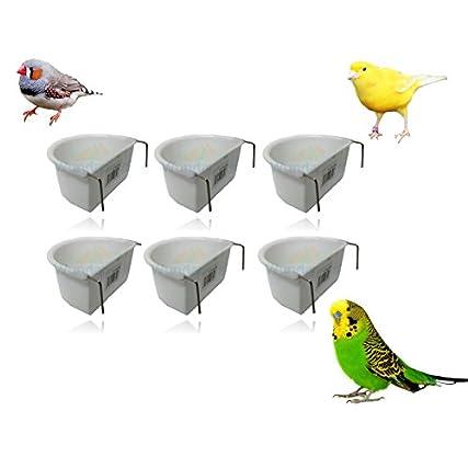 * New * 6pezzi Wundapets 7.5cm d-forma plastica uccello Budgie gabbia da appendere su feeder Coop Cup