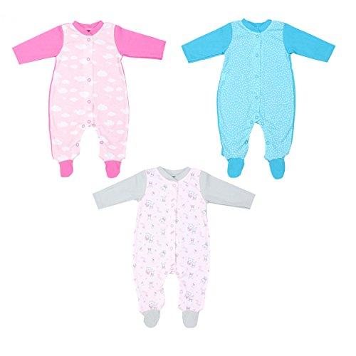 Baby Schlafoverall Mädchen Schlafanzug Jungen Schlafstrampler 100% Baumwolle Nachtwäsche im 3er PACK, Farbe: Mädchen, Größe: 56