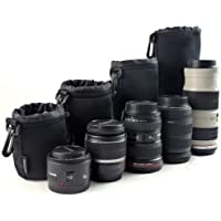 Protective Neoprene Camera Lens Case Pouch Set of 4 for DSLR Camera Lens Includes Small, Medium, Large & Extra Large…