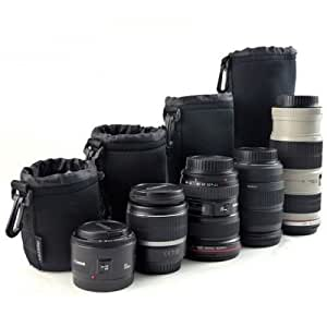 Protective Neoprene Camera Lens Case Pouch Set of 4 for DSLR Camera Lens Includes Small, Medium, Large & Extra Large Pouch Compatible with lenses from Canon, Nikon, Olympus, Fuji, Pentax, Panasonic, Sony, Leica, Sigma, Tamron, Vivitar, Minolta, Mamiya, Yashica,,Kodak, Konica, Hasselblad, Ricoh, Zeiss & Lensbaby