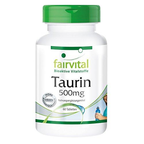 Taurin 500mg - 60 vegetarische Tabletten - Wachmacher mit gesunden Nebenwirkungen - Reinsubstanz