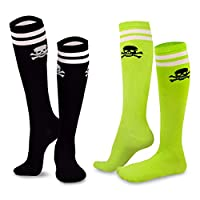 TeeHee Novelty Cotton Knee High Fun Socks 2-Pack for Junior and Women (Skull Varsity Pirate)