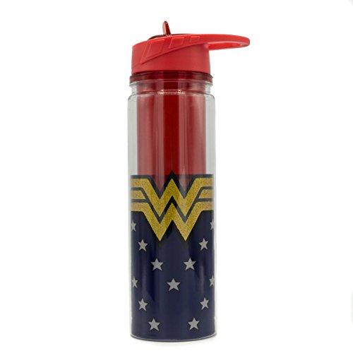 e561dc262c Silver Buffalo Wonder Woman Logo 550ml Double Walled Tritan Glitter Water  Bottle GAL Gadot DC