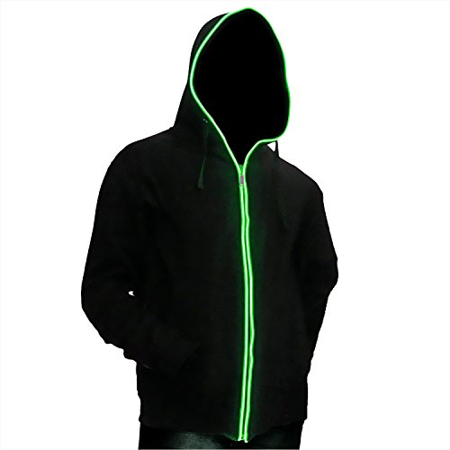 Ucult LED-Hoodie Grün LED- Kapuzenjacke Sweatzipper (L)