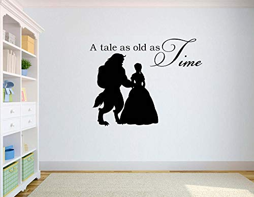 wukongsun Eine alte Geschichte für Mädchen und das Biest Wandtattoos, Kinderzimmer Vinyl Wandaufkleber, Kunst Wandbilder, 75cmX99cm
