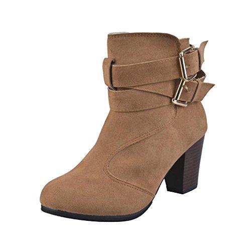 Damen Kleid Zip Stiefel (Stiefeletten Damen Schuhe Xinan Frauen Gürtelschnalle Faux Stiefel Knöchel Stiefel High Heels Martin Schuhe (37, Braun))