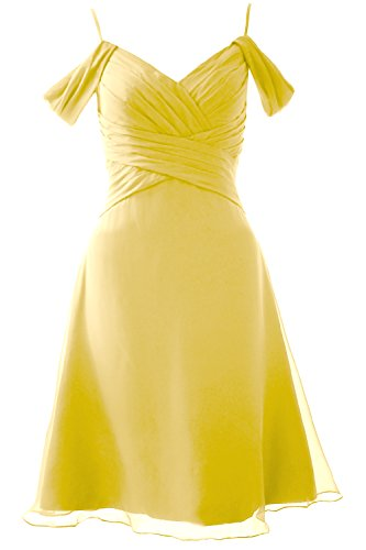MACloth Elegant Off the Shoulder Short Bridesmaid Dress Wedding Party Formal Gown Canary