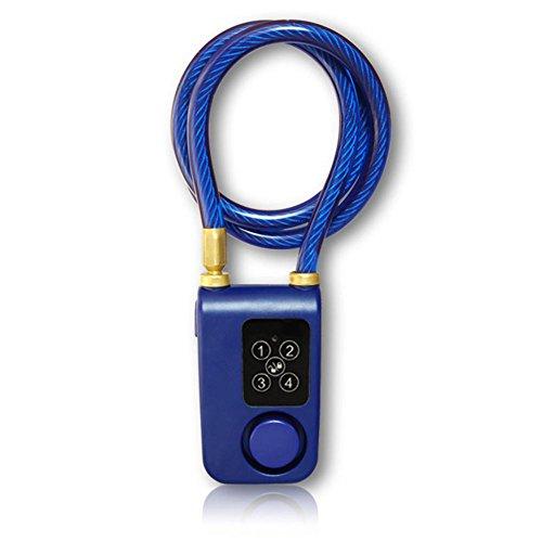 """Somedays Candado con Huella Dactilar Impermeable IP44 Bluetooth sin Llave Bici/Motocicleta/Cerradura de Puerta con Alarma de 110db 0.38\""""Diámetro 31 Pulgadas Cable de Acero Trenzado"""