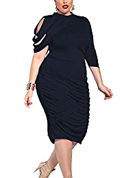 Donna Taglie Forti Gonna Vestito Monospalla Abito Da Cocktail Corti e92b83d922a