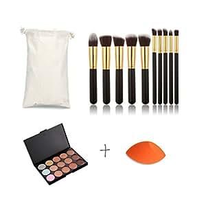 Pure Vie® Pro 10 Pcs Pennelli Trucco + 1 Spugnetta Fondazione Puff + 15 Colori Correttore Cosmetico Camouflage Palette Trucco - Adattabile a Uso Professionale che Privato