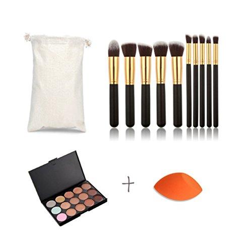 Pure Vie® 10 Pcs Pinceaux Maquillage Trousse + 1 Éponge Fondation Puff + 15 Couleurs Palette de Maquillage Correcteur Camouflage Crème Cosmétique Set - Convient Parfaitement pour une Utilisation Professionnelle ou à la Maison