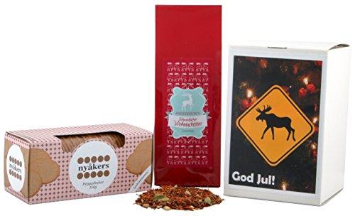 Geschenkset - God Jul! - Wichtelgeschenk - Schwedische Weihnachten (Pfefferkuchen + Weihnachtstee)