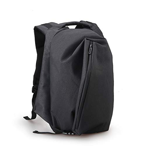 rdichte Nylon Rucksack Für Männer Freizeit Reise Rucksäcke Männliche Laptop Computer USB Charge Rucksack Anti Dieb Q schwarz ()