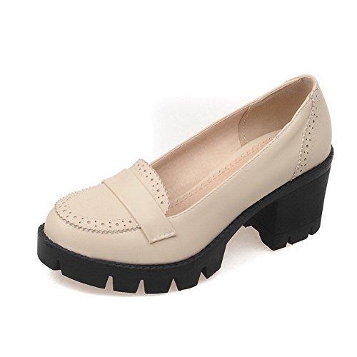 VogueZone009 Damen Rein Pu Leder Mittler AbsatzZiehen Auf Pumps Schuhe Cremefarben