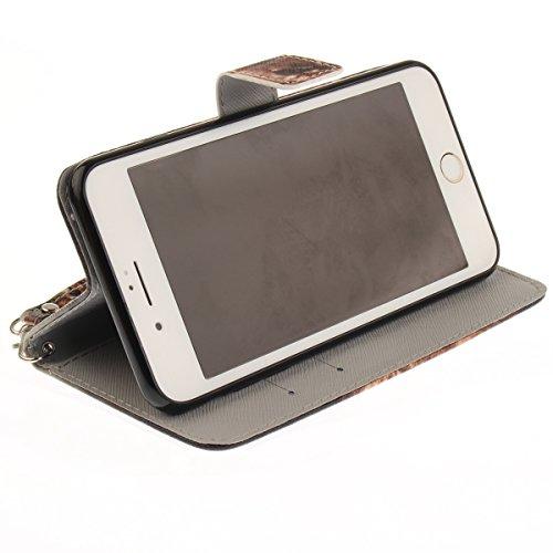 Coque iPhone 7 Plus, iPhone 8 Plus Coque Portefeuille, SainCat Ultra Slim Flip Cover pour iPhone 7/8 Plus, Anti-Scratch Bookstyle Etui en PU Cuir Coque Etui Cuir Cover Coque Cuir Coque Caoutchouc Étui Lion
