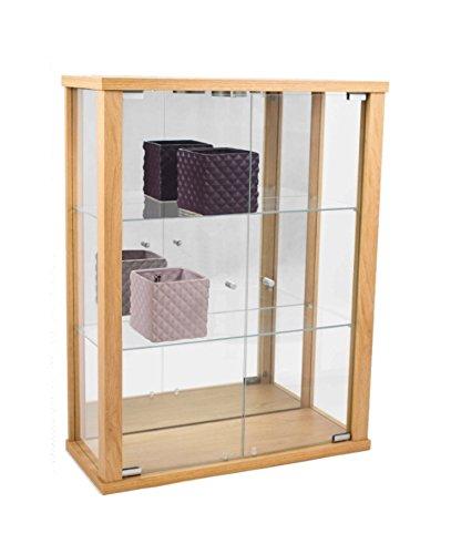 Glashängevitrine Glasvitrine Spiegel Beleuchtung Hängevitrine mit LED Buche Dekor