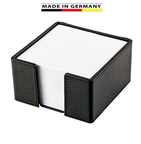 Handmade in Germany Notizzettelbox - Rindnappaleder schwarz - erhältlich in 5 Farben excl. Marke EuroStyle