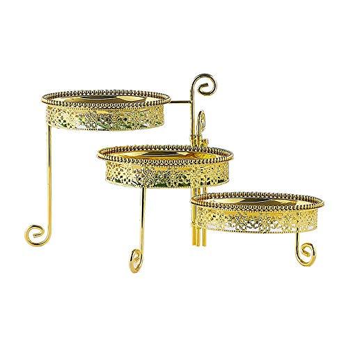 Bai Su BS 3-stufiges Service-Rack Dessert-Rack Tortenständer Metallständer Party-Food-Server-Display, Gold Hoher Tortenständer Food Display-server
