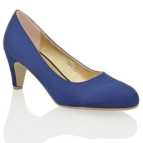 Essex Glam Scarpa Donna Matrimonio Peep Toe Tacco a Spillo Cinturino Posteriore Satinato Finto Diamante Azzurro Satinato