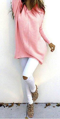 Yeesea Donna Autunno Inverno Lunghe Sweatshirt Pullover Maglioni Maniche Lunghe Casuale Camicetta Maglie Tops Blusa Maglietta Rosa