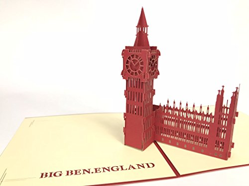Big ben london england red pop-up biglietto di auguri, cartoline kirigami paper craft londra inghilterra