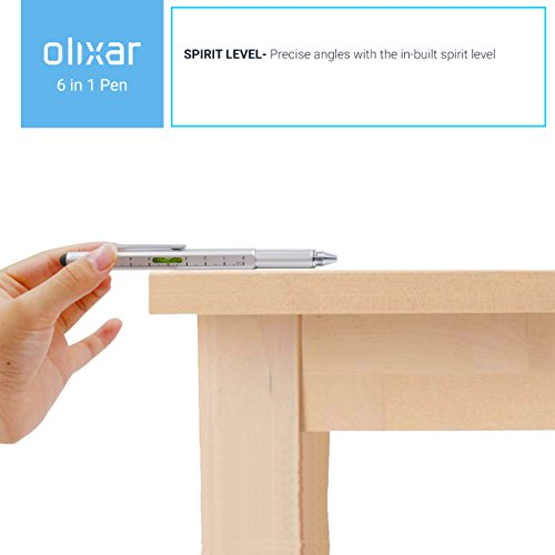 Olixar 6 In 1 Pen - Stylus, Ruler, Spirit + Screwdriver Etc - Multi-tool  Hexstyli - Value Pack - Silver