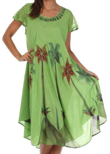 Sakkas 116 Aquarell-Palme-Behälter Kaftan Kleid - Grün/One Size