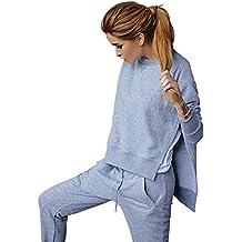 Mujer Sudadera Chándal Hendidura Sweatshirt Casual 2 Piezas + Pantalones Deportivo Gris XL