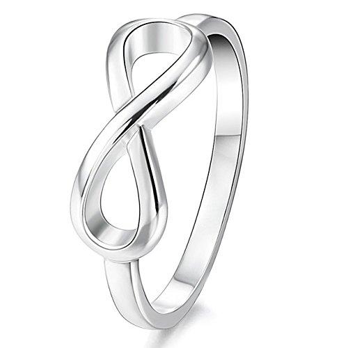 MunkiMix 925 Sterling Silber Band Ring Silber Ton Infinity Unendlichkeit Zeichen Symbol Hochzeit Größe 52 (16.6) Damen - 3-ring Aus Sterling Größe Silber