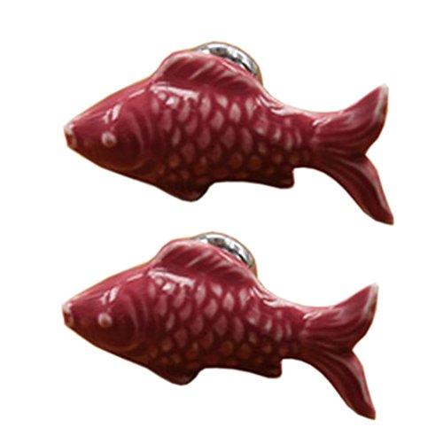 Set von 4 niedlichen Fisch Schublade / Schrank ziehen Griffe Keramik Schrank Kn?pfe