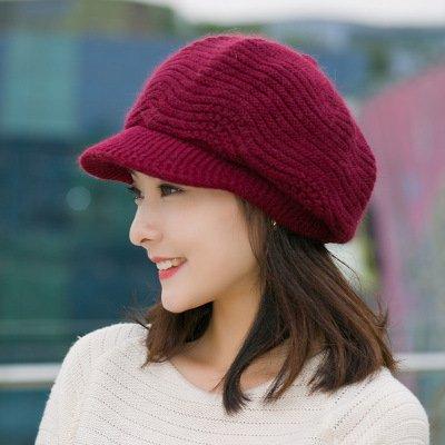 Hut _ 9A11C Koreanischen Hut Lady Gewirkt Hat Warme Winter Pelz Großhandel,Rotwein (Großhandel Fedoras)