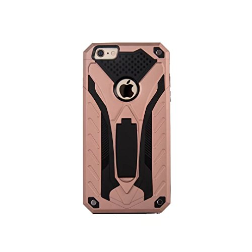 DaYiYang Dual Layer PC + TPU Back Cover Neue stilvolle Hybrid Armor Schutzhülle Shockproof mit Kickstand für iPhone 6 Plus & 6s Plus ( Color : Silver ) Rosegold