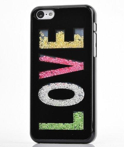 yaobaistore superbe Étui à rabat style Swarovski Pierres Strass Diamant Bling main cristal Luxe Bumper Coque arrière rigide pour Apple iPhone 5iPhone 5S (Noir) Love
