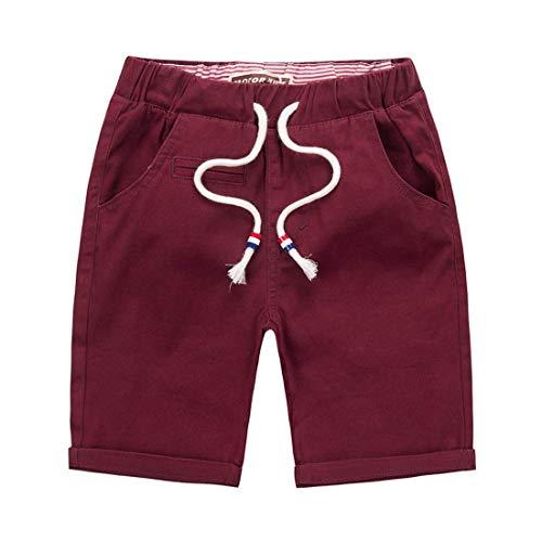 DOCOO kindershorts-Jungen Baumwolle Sommerkurze Hose, leichte Jungenshorts Ausgestattet mit Verstellbarer Taille Kinder Freizeit Sommerkleidung 4-14 Jahre -