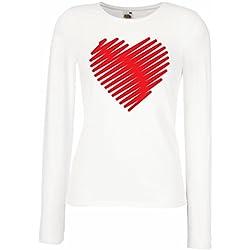 Camisetas de Manga Larga para Mujer Corazón con estilo, te amo regalos Trajes de día de San Valentín (Large Blanco Rojo)