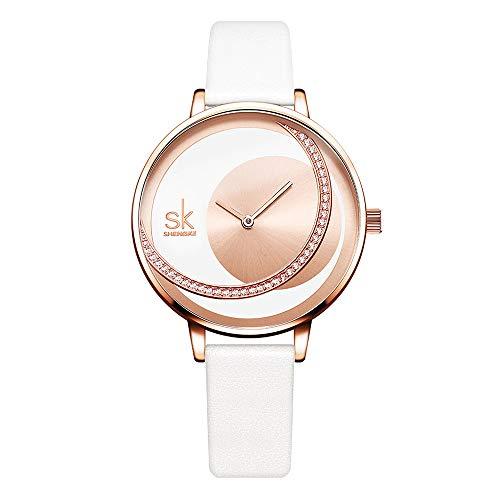 Damenuhren Doppelter Kreis Strass 2 Zeiger Armbanduhren für Damen Mädchen Lederband Design, Weiß