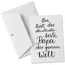 Du bist der allerallerallerbeste PAPA der Welt, Spruch Glückwunschkarte Postkarte für Väter, Vatertagskarte oder allgemeine Grußkarte als Dankeschön, zum Geburtstag oder Vatertag, Vatertagsgeschenk klassisch, mit Herz Umschlag
