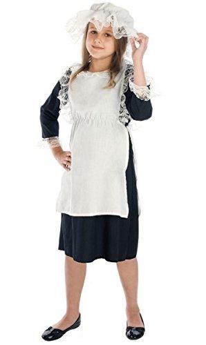 (Fancy Me Mädchen Arme Viktorianisch Bauer Dienstmagd büchertag Kostüm Kleid Outfit 4-12 Jahre - Schwarz/weiß, 4-6 Years)