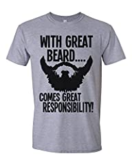 Idea Regalo - Buzz Shirts With Great Beard Comes Great Responsibility Mens T-Shirt Uomo Maglietta