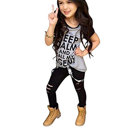 Sannysis Kleinkind -Mädchen-Ausstattungs-Kleidung-Druck-T-Shirt Tops + Long Pants (120, Grau) -