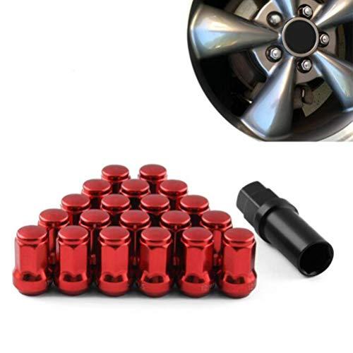 Un ensemble de 20 écrous de roue en alliage - M12 X 1,25 filetage, Style Acorn, extérieur Seven Side Tire Nut 33mm écrou de roue (Rouge)