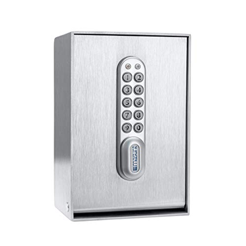 masunt Schlüsseltresor 2140 E Code | Innovative Online-Codevergabe aus der Ferne | digitaler Schlüsselsafe aus massivem V4A Edelstahl | maximale Sicherheit | extra korrosionsbeständig für Seeklima -