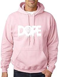 Sudadera con capucha para hombre, con estampado de diamante derritiéndose y palabra Dope, todos los tamaños y colores, color blanco