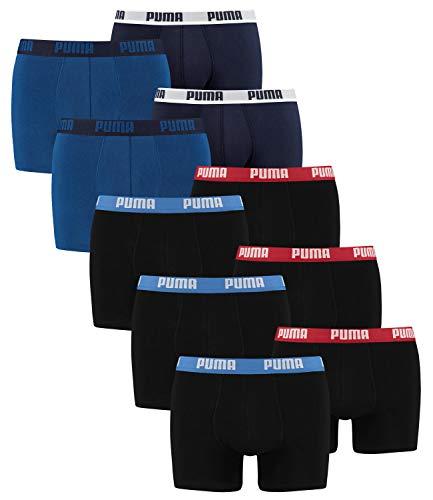 PUMA Herren Boxershorts Unterhosen 521015001 10er Pack , Wäschegröße:XL, Artikel:2x2er true blue + 3x2er Schwarz Rot/Blau