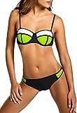 CASPAR BIK005 Damen Bandage Bikini Set , Farbe:neon gelb-weiss / schwarz WP;Größe:34 XS UK6 US4